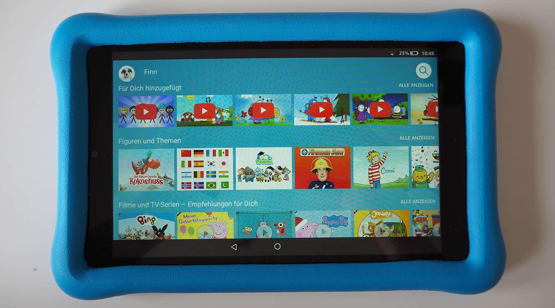 Der Startbildschirm des Amazon Fire HD Kids Edition