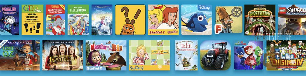 Eine Auswahl an Amazon FreeTime Unlimited Inhalte wie Bücher oder Videos