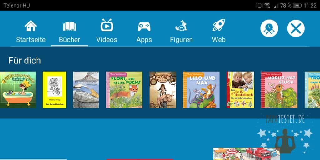 Das Übersichtsfenster von Bücher der Amazon FreeTime Unlimited App