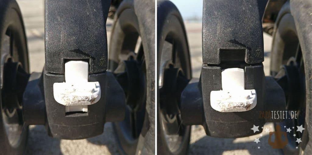 Linke Seite ist das Rad fixiert, rechts beweglich
