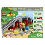 Die Lego Duplo Eisenbahn Brücke mit gerade Schienen