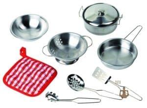 Kinderküchen Zubehör aus Metall wie die Töpfe