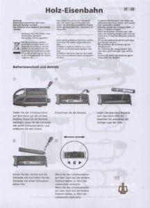 Die Seite 1 der Playland Holzeisenbahn Anleitung von Aldi