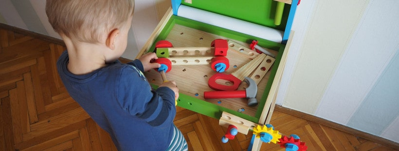 Die aufgebaute Werkbank von PlayTive Junior des Discounters Lidl